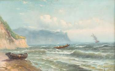 RUSSIAN marine painter 2. Half of the 19th century. Century boat on a stormy sea
