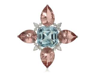 AQUAMARINE, MORGANITE AND DIAMOND BROOCH