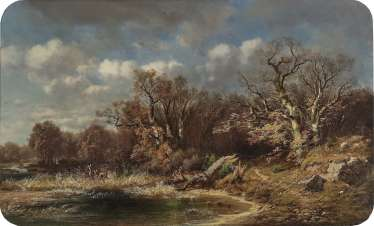Carl Millner - Autumn Landscape with Deer