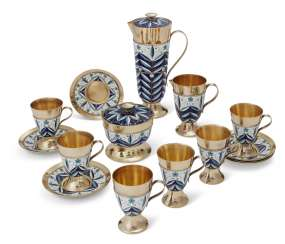 A SOVIET SILVER-GILT AND CLOISONNÉ ENAMEL COFFEE SERVICE