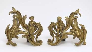 Pair of Louis XV style chimney gates, 19th century