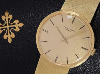 Watch: rare, classic 18K Gold wristwatch Patek Philippe Ref. 3468/5, from 1974, with original box and original papers
