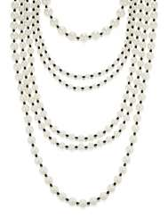 UNSIGNED CHANEL FAUX PEARL AND BLACK BEAD NECKLACE