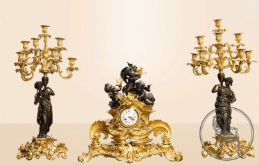 mantel clock with candelabras (2 PCs)