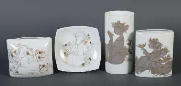 Wiinblad, Björn Copenhagen 1918 - 2006 Lyngby, Danish painter, designer and set designer. Three vases and a plate