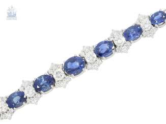 Bracelet: valuable and elaborately crafted vintage sapphire/brilliant-wrought gold bracelet, approx. 8ct, crafted from 18K white gold