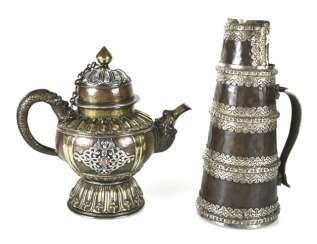 Two pots made of copper, a brass and white metal inlays