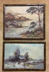 A couple of vintage paintings of the XIX - beginning of XX centuries.