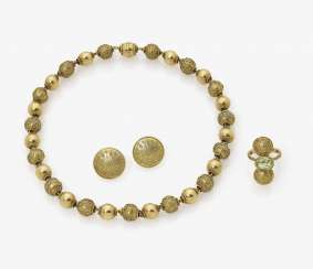 Ball chain, bangle, Pair of earrings and Ring with gold granulation. Germany, 2. Half of the 20. Century