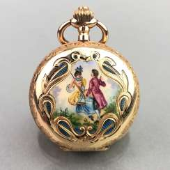 Ladies Savonette / spring lid pocket watch, three lids Gold 585, enamel decorated with engraved u. Cylinder escapement, CH 1900