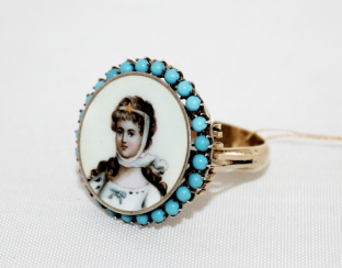 Ring with turquoise and enamel