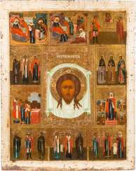 A MONUMENTAL ICON WITH THE MANDYLION AND SELECTED SAINTS