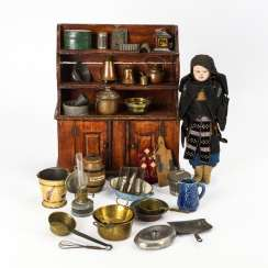 Kitchen cabinet, accessories and doll in costume