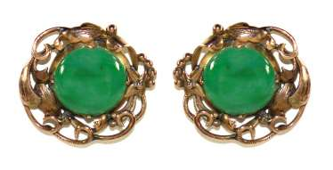 Jade 14k yellow gold stud earrings