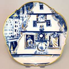 Institutional / wall plate: Meissen porcelain, view Rothenburg adorns Ob der Tauber, Gold, very good.