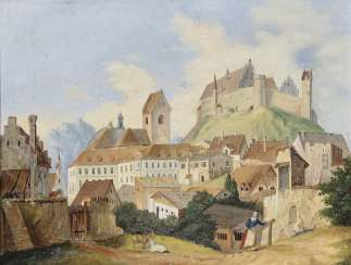 The Between in Landshut, view of feet with the High castle and the Church of St. Mang. South German 19. Century