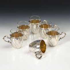 6 tea glasses with silver mounts, COOKING ; mountain field