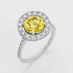 Eleganter Fancy-Yellow-Diamant-Solitärring
