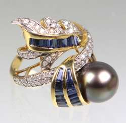 Design Ring with Tahitian pearl, sapphire's & diamonds - yellow gold/WG 750