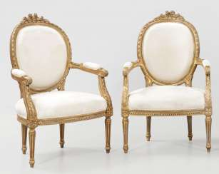 Pair of large Louis XVI style armchairs