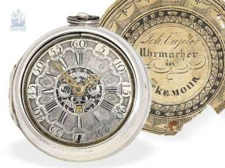 Pocket watch: English paircase verge watch with date, signed Langin London, ca. 1740