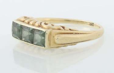 Gold ring with green tourmalines, probably 1940s