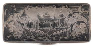 VINTAGE SIAM STERLING SILVER TABATIÈRE WITH ARCHITECTURE VIEWS