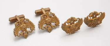 Pair of cufflinks and clips with Russian double-headed eagles