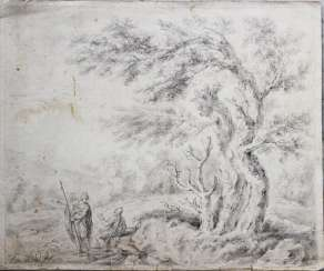 E.H.Pallatin, 18. century, soldiers in landscape, chalk on paper, described reverse