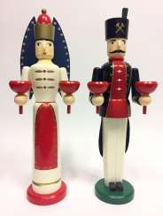 Great Pair of Christmas figures angel and miner, wood, painted, handmade, two grommets.