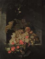 Jan Davidsz. de Heem, circle, still life with grapes, cherries, apricots, butterflies and a bumblebee in a stone niche