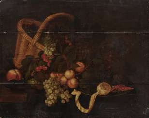 Netherlands 17th Century, Still Life with Fruit, a Basket, a Wine Glass and a Pewter Plate with Shrimps and Lemon