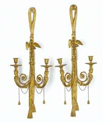 A PAIR OF LOUIS XVI ORMOLU TWIN-BRANCH WALL-LIGHTS