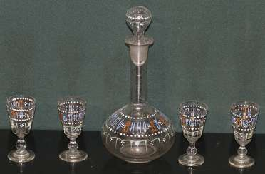 Decanter and 4 shot glasses. Russia