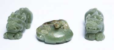 Three Chinese mythical creature made of Jade