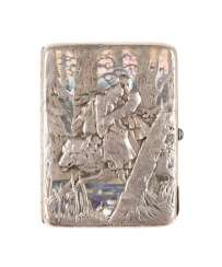 PLEIN ENAMEL CIGARETTE CASE WITH TSAREVICH IVAN AND THE GRAY WOLF AFTER A PAINTING BY VIKTOR VASNEZOW Russia