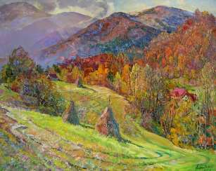 Beautiful autumn in the mountains Painting by Aleksandr Dubrovskyy