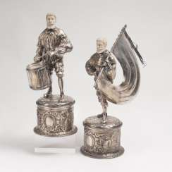 Pair of silver figures' drummers' and standard bearers'