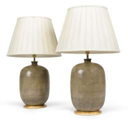 A PAIR OF FAUX SHAGREEN VASES, MOUNTED AS LAMPS