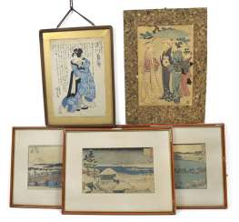 Collection of color woodblock prints, including Utagawa Hiroshige, framed