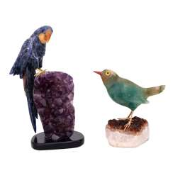2 bird figures 'parrot' and 'Green bird', 20. Century.