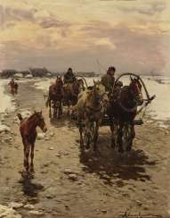 Homecoming Two farmers with horses and carts and a foal on the winter road. , Wierusz-Kowalski, Alfred von 1849, Suwalki / Poland - 1915 Munich