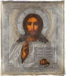 LARGE ICON OF CHRIST PANTOKRATOR WITH SILVER OKLAD