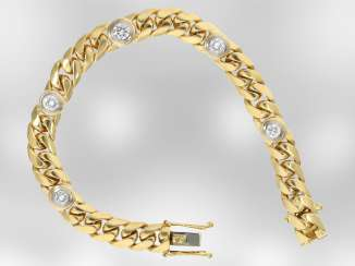 Bracelet: solid gold curb bracelet with brilliant-cut diamonds, approx. of 1.56 ct, 18K yellow gold, hand-work of the court jeweller and Roesner