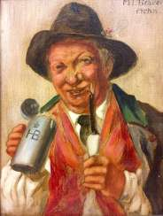 M. T. Brauer: a Bavarian gentleman with a pipe in the Hofbräuhaus, Munich, Oil on wood, with a high quality frame, 1966, very good.