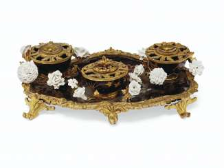 A LOUIS XV ORMOLU-MOUNTED POLYCHROME-DECORATED LACQUER AND PORCELAIN ENCRIER
