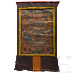"Large thangka with ""Wheel of Fortune"" motif, Tibet, 19th century"