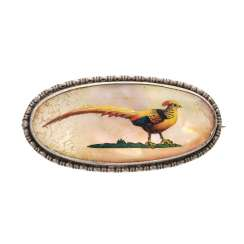Brooch with pheasant illustration