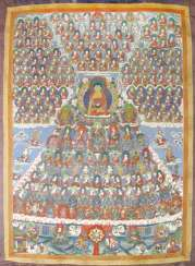 Thangka with depiction of the Buddha Shakyamuni, surrounded by numerous Geistlichkeitenv