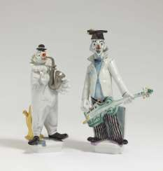 Two clowns (saxophone player and guitarist) Meissen, Peter Strang, 1987 and 1989